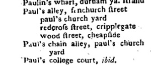 A listing for Paul's Alley in an early London street guide.